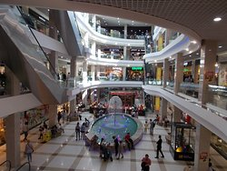 Shopping Mall Modny Kvartal, Irkutsk, Russia. The fountain area is what really makes this mall so very special. So very nice.