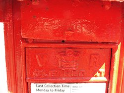 Historic Mail Collection Box - Note the V R .  Victoria has not been Queen for many years.