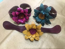 Leather cuffs handmade with leather from sustainable sources
