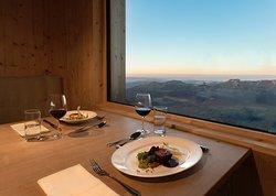 Chäserrugg Gipfelrestaurant Ausblick bei Sonnenuntergang