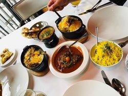 Duck Vindaloo, Lamb Biryani, Lemon rice