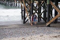 Under the pier on the beach