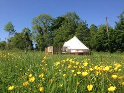 The Lake View bell tent is closest to our tiny lake.  Out on the deck, you can sit and enjoy the sunshine, while inside, it's a beautiful, light & spacious tent, with comfy beds, cosy duvets and twinkly fairy lights.  The perfect place to relax after chilling out around the campfire.  *Sleeps 4 (1 double bed & 2 singles) *Perfect for a couple, or a family of 4. *All bed linen provided. *2 electric lamps & fairy lights inside. * 2 spare sockets to charge phone. *Small private deck area.