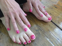 Gel Polish on hands and feet.