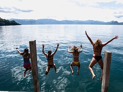 Jumping in the lake from Private Dock