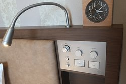 Good bedside controls, plus mains outlet and USB charge point, Room 1013