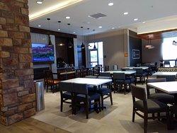hotel lobby/breakfast bar area