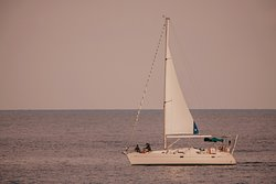 Photo from shore. Heading towards Gerani Beach with lovely French family of three.