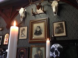 Skulls and local macabre art for sale.
