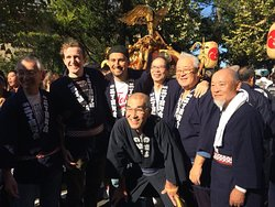 We joined a local shrine-carrying festival with guests and neighbours