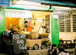 this local place for dessert coconut ice cream on motorbike food tour