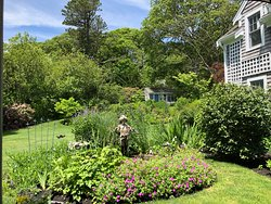 Breakfast at A Little Inn on Pleasant Bay includes a sumptuous meal and this view of the Inn's amazing back yard garden.