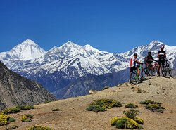 Mountain Biking Trip to Annapurna Circuit via Thorong La Pass 5416m in April 2019 with Swiss-Hong Kong Group. Trip organized by Swiss Family Treks and Expedition. Photo was taken on the way to Lupra Village between Muktinath and Jomsom.