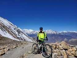 Mountain Biking Trip to Annapurna Circuit via Thorong La Pass 5416m in April 2019 with Swiss-Hong Kong Group. Trip organized by Swiss Family Treks and Expedition. Photo was taken on the way to Muktinath.