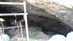 View inside Charkadio Cave taken through the railings