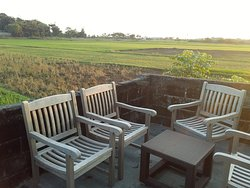 The sitting area in front of business rooms no 13 and 14 with the view of rice field. Very suitable for enjoying afternoon tea or sunset.