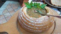 Potato soup in bread bowl-nice