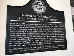 Plaque outside references Lafayette who addressed crowds from the balcony visible from this sign at the Owens Thomas House