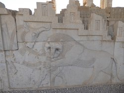 The carvings on Persepolis walss are not unique but the convey a unique sense of life and how contradictory forces build up our life.     ..................................................    Here an Iranian lion, supposedly the symbol of bravery and might, is struggling to bring down a bull, another ancient symbol.