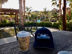 Having my morning coffee before heading out to snorkel