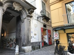 Just one block off the main road. on via S.M della Pieta.  There was a restaurant with outdoor seating off to the left.
