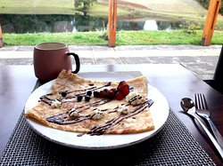 Enjoy our crepes specialty of our restaurant overlooking the lagoon with view to Volcan Villarrica