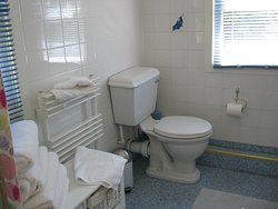 Cabin Bathroom - comfortable for the family with power shower