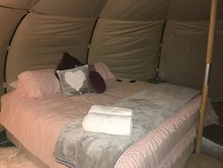 Inside the silkie tent