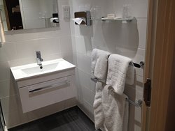 Sink, gorgeous huge fluffy towels like a cloud, more storage for personal items