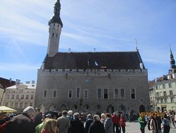 old town square with town hall