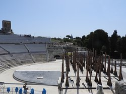 Greek Theater. you can see all wooden poles and covering for current performance