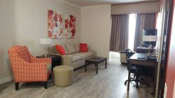 Living room of the accessible suite