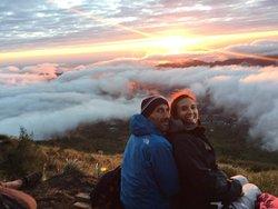 Sunrise tracking mountain batur
