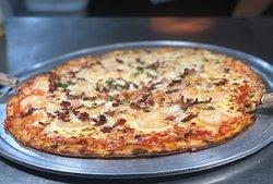 Pizza gamberi con tocineta