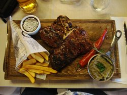 The magnificent T Bone, truffle mash and Belgian fries