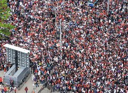 View from our corner room of crowds at Raptor's parade/rally in Nathan Philips Square