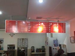Menu over counter at Cooksoo