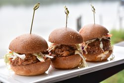 BBQ Pulled Pork Sliders: Slow Cooked BBQ Pork, Coleslaw, Chipotle Aioli #localfood #freshfood