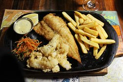 Fish and chips with calamari - delicious!