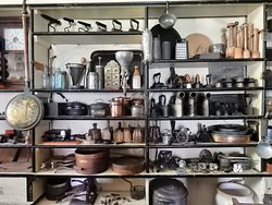 Lang Pioneer Village. The historical village shop with shelves stocked high with interesting items.