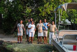 Arriving at the smaller camp on the island in the Okavango Delta with the greatest staff.