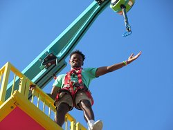 Once you get at the top of The Mountain of Youth Ropes Course, take a ride on our quick jump to get back down to Earth!