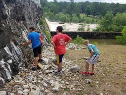 The boys were amazed at the dam wall