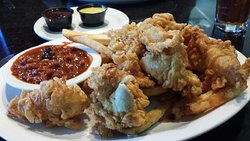 Chicken tenders with a side of beans. If you like your chicken to taste like fish, this is the dish for you.