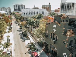 Arial footage of our historic venue and beautiful downtown Sarasota.