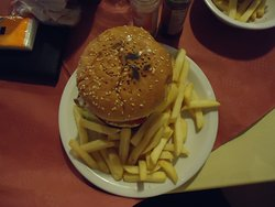 A burger - my kid's choice at Carmen's Bar