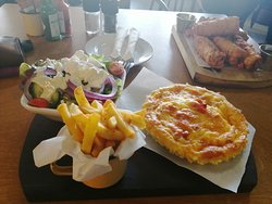 Bacon & Mushroom Quiche with Chips & Salad