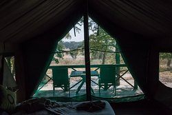 Inside the beautiful big tents built on stilts in the main camp of the Mankwe Bush Lodge.