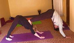 Having fun during morning yoga