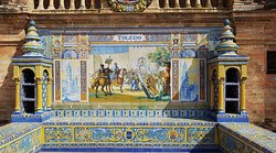 One of the alcoves highlighting a province of Spain with colorful tile details